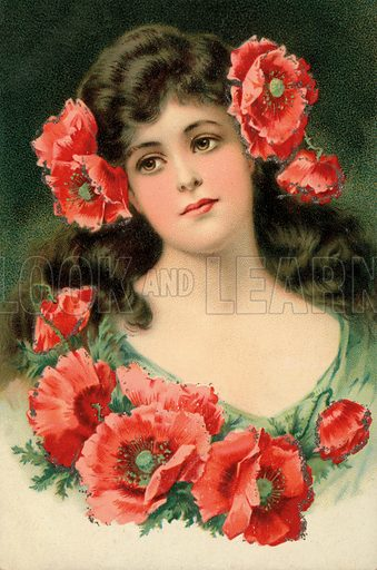 Portrait of a young woman with red poppies. Postcard, early 20th century.