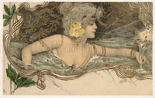 Nymph of Greek Mythology swimming in water. Postcard, early 20th century.