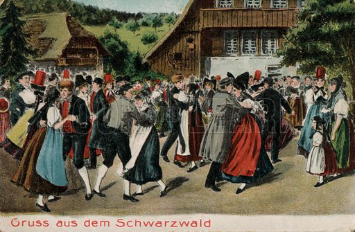 Traditional dancing in the Black Forest, Germany. Postcard, early 20th century.