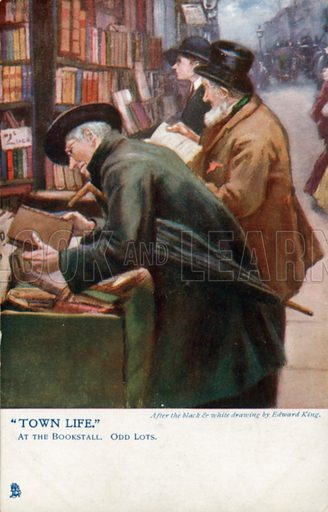 Town Life: customers browsing at a book stall. Postcard, early 20th century.
