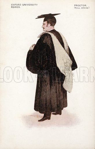 Proctor in full dress robes, Oxford University. Postcard, early 20th century.