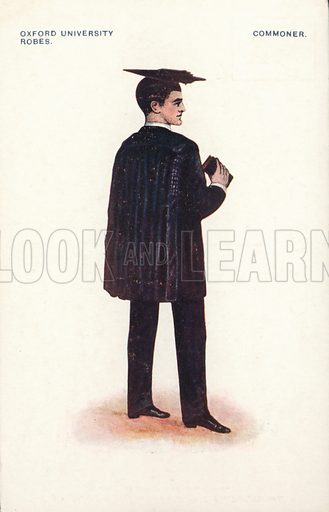 Oxford University robes - Commoner. Postcard, early 20th century.