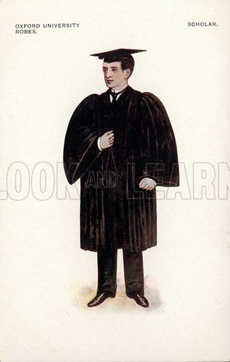 Oxford University robes - scholar. Postcard, early 20th century.