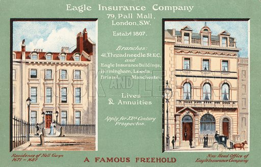 Former residence of Nell Gwyn converted into the head office of the Eagle Insurance Company, 79 Pall Mall, London. Postcard, early 20th century.