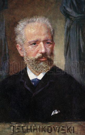 Pyotr Ilyich Tchaikovsky (1840-1893), Russian composer. Postcard, early 20th century.