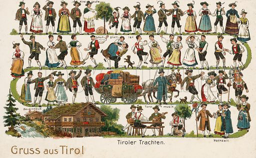 Tyrolean costumes, Austria. Postcard, early 20th century.