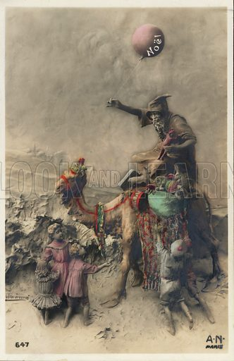 Man on a camel bringing gifts to children at Christmas. Postcard, early 20th century.