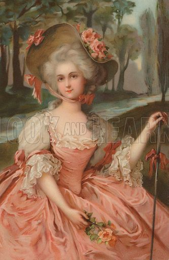 18th Century woman wearing a pink gown. Postcard, early 20th century.
