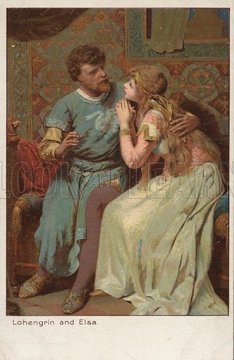Lohengrin and Elsa, characters from German literature and the opera by Richard Wagner. Postcard, early 20th century.