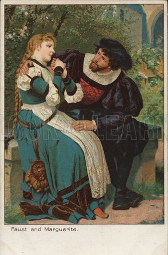 Scene from the opera Faust by French composer Charles Gounod. Postcard, early 20th century.
