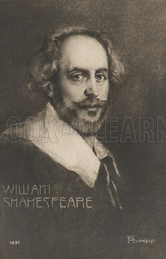 William Shakespeare, (1564-1616), English poet and playwright. Postcard, early 20th century.