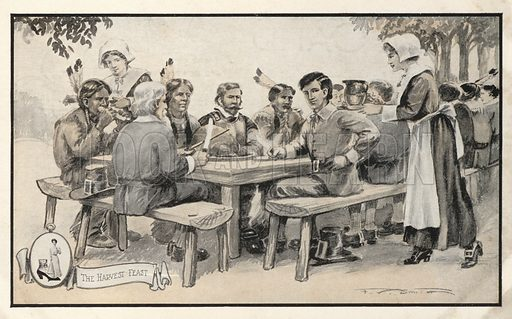 Thanksgiving feast in America. Postcard, early 20th century.