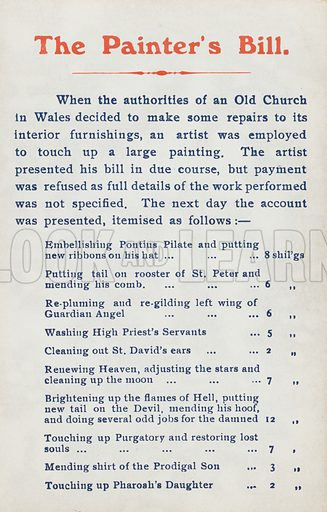 The painter's bill: irreverent itemised bill from an artist for restoration work to a painting in an old Welsh church. Postcard, early 20th century.
