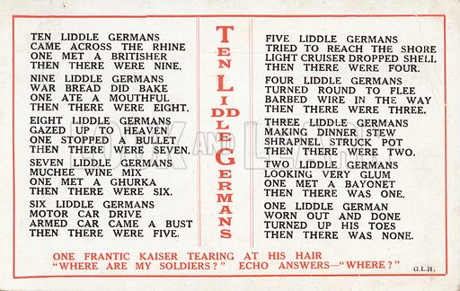 Ten Liddle Germans rhyme, British First World War propaganda. Postcard, early 20th century.