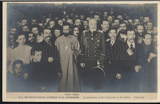 Russian Orthodox priest Father Gapon leading a group of protestors to the Winter Palace, St Petersburg, Russia, Bloody Sunday, 22 January 1905. Postcard, early 20th century.
