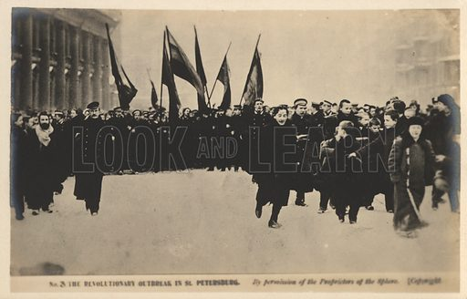 Protesters on the streets of St Petersburg, Russian Revolution of 1905. Postcard, early 20th century.