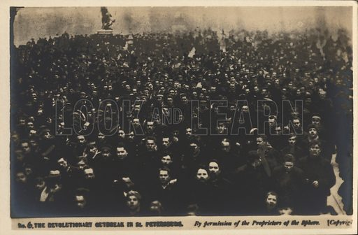 Crowds on the streets of St Petersburg, Russian Revolution of 1905. Postcard, early 20th century.