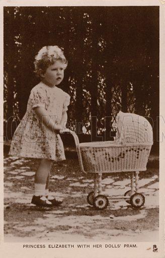 Princess Elizabeth (later Elizabeth II) with her dolls' pram. Postcard, early 20th century.