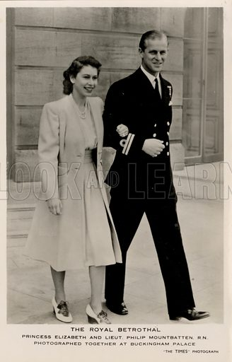 Princess Elizabeth (later Elizabeth II) on her betrothal to Lieutenant Philip Mountbatten, Buckingham Palace, London, 1947. Postcard, early 20th century.
