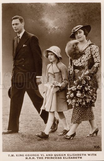 King George VI and Queen Elizabeth with their daughter Princess Elizabeth (later Queen Elizabeth II). Postcard, early 20th century.