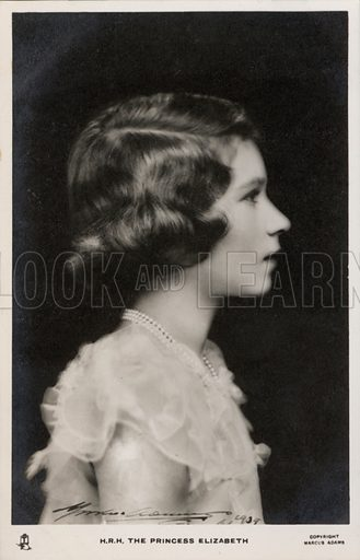 Queen Elizabeth II as a young girl. Postcard, early 20th century.