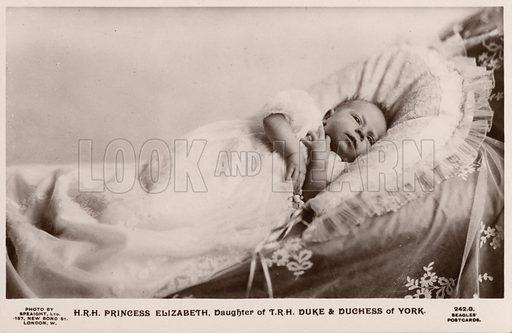 Queen Elizabeth II as a baby. Postcard, early 20th century.