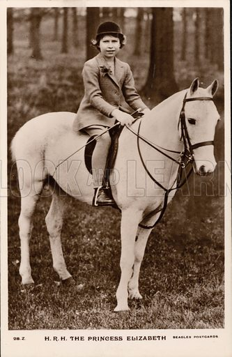 Princess Elizabeth (later Queen Elizabeth II) riding a white pony. Postcard, early 20th century.
