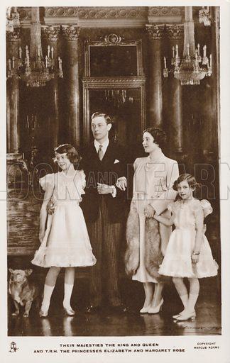 King George VI and Queen Elizabeth with their daughters Princess Elizabeth (later Queen Elizabeth II) and Princess Margaret. Postcard, early 20th century.