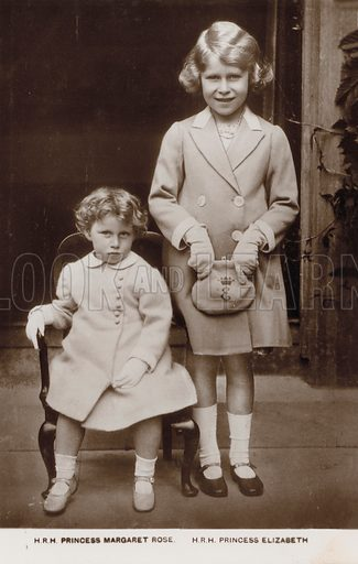 Princess Elizabeth (later Queen Elizabeth II) and Princess Margaret. Postcard, early 20th century.