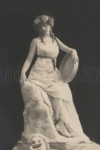 Woman dressed as Thalia, the Greek Muse who presided over comedy. Postcard, early 20th century.