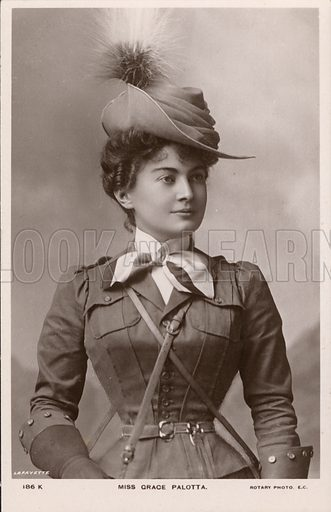 Grace Palotta (1870-1959), Austrian-born stage actress, as Daisy in the musical comedy The Messenger Boy. Postcard, early 20th century.