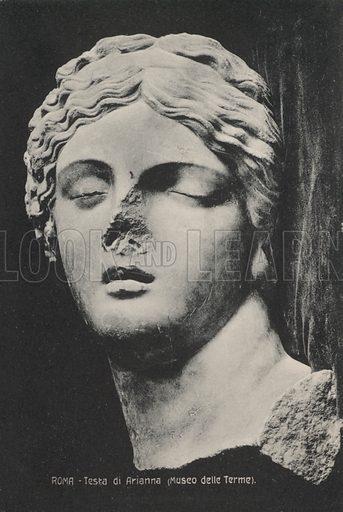 Head of Ariadne, goddess of mazes and labyrinths in Greek mythology. Postcard, early 20th century.
