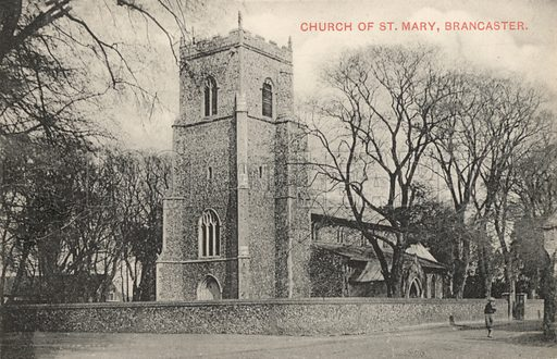 Church of St Mary, Brancaster, Norfolk. Postcard, early 20th century.