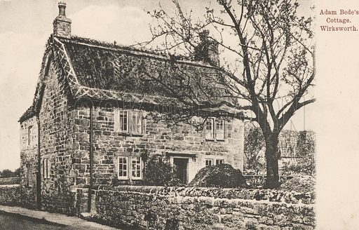 Adam Bede's cottage, Wirksworth, Derbyshire, owned by George Elliot's aunt and the inspiration for the novel Adam Bede. Postcard, early 20th century.