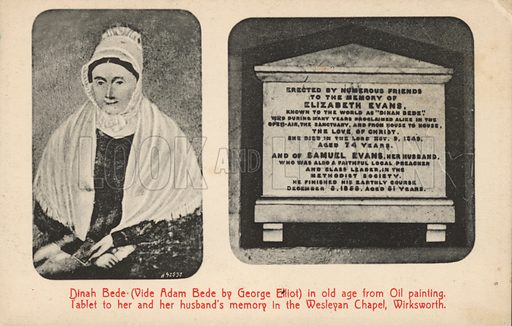 Portrait and gravestone of George Elliot's aunt (Elizabeth Evans), the inspiration for characters in her novel Adam Bede. Postcard, early 20th century.