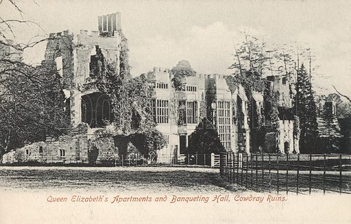 Queen Elizabeth I's apartments and the banqueting hall, ruins of Cowdray House, Midhurst, Sussex. Postcard, early 20th century.