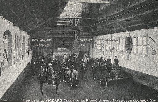 Savigear's riding school, Earl's Court, London. Postcard, early 20th century.