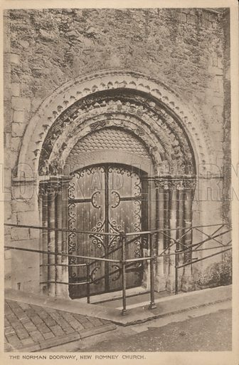 Norman doorway of St Nicholas Church, New Romney, Kent. Postcard, early 20th century.