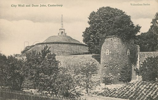 Dane John monument and city walls, Canterbury, Kent. Postcard, early 20th century.