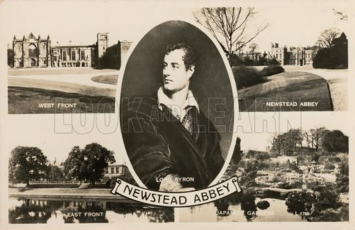 Lord Byron (1788-1824), English poet, and his ancestral home, Newstead Abbey, Nottinghamshire. Postcard, early 20th century.