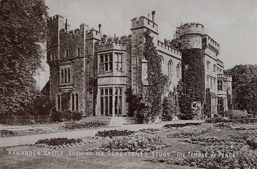 Hawarden Castle, home of English politician and Prime Minister William Gladstone, Hawarden, Flintshire, Wales. Postcard, early 20th century.