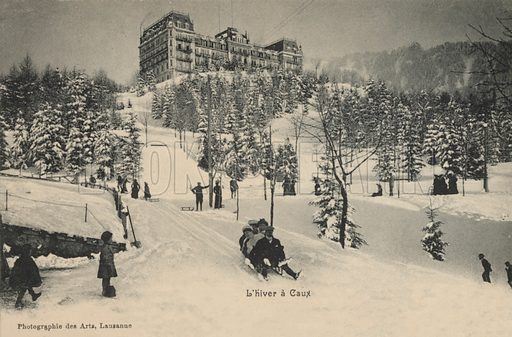 Tobogganing in winter in the village of Caux, Switzerland. Postcard, early 20th century.