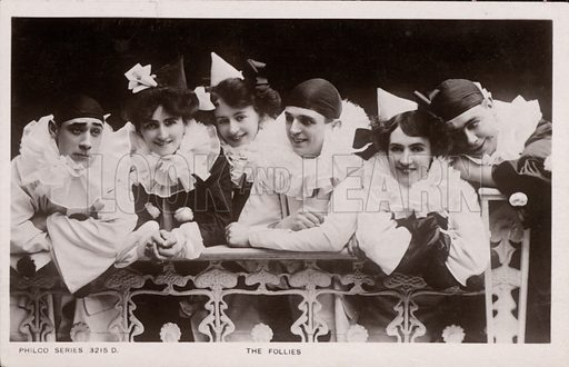 The Follies, theatrical troupe. Postcard, early 20th century.