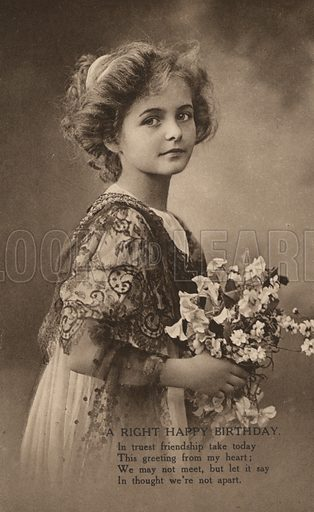 Girl with a posy of flowers and a birthday greeting. Postcard, early 20th century.