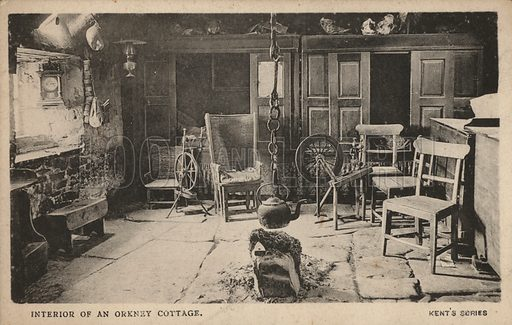 Interior of a cottage, Orkney, Scotland. Postcard, early 20th century.