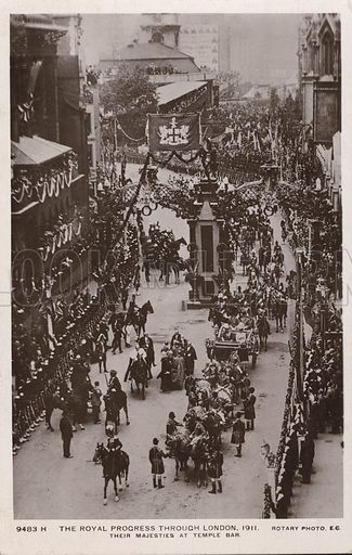 Coronation procession of King George V and Queen, Temple Bar, London, 1911. Postcard, early 20th century.