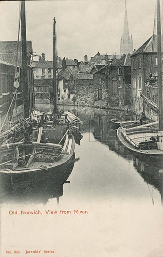 Boats on the river at Norwich, Norfolk. Postcard, early 20th century.