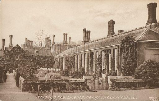 Cardinal Thomas Wolsey's Apartments, Hampton Court Palace, Richmond upon Thames, London. Postcard, early 20th century.