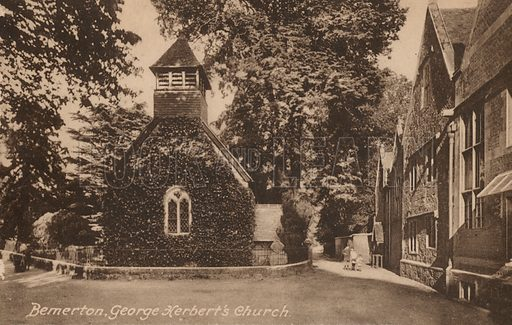 St Andrew's Church, Bemerton, Wiltshire, where English poet and priest George Herbert is buried. Postcard, early 20th century.