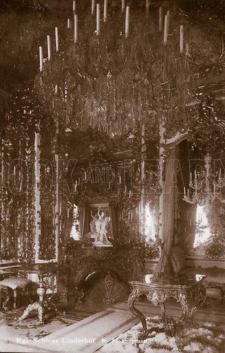 Hall of Mirrors in the Linderhof Palace built by King Ludwig II of Bavaria. Postcard, early 20th century.